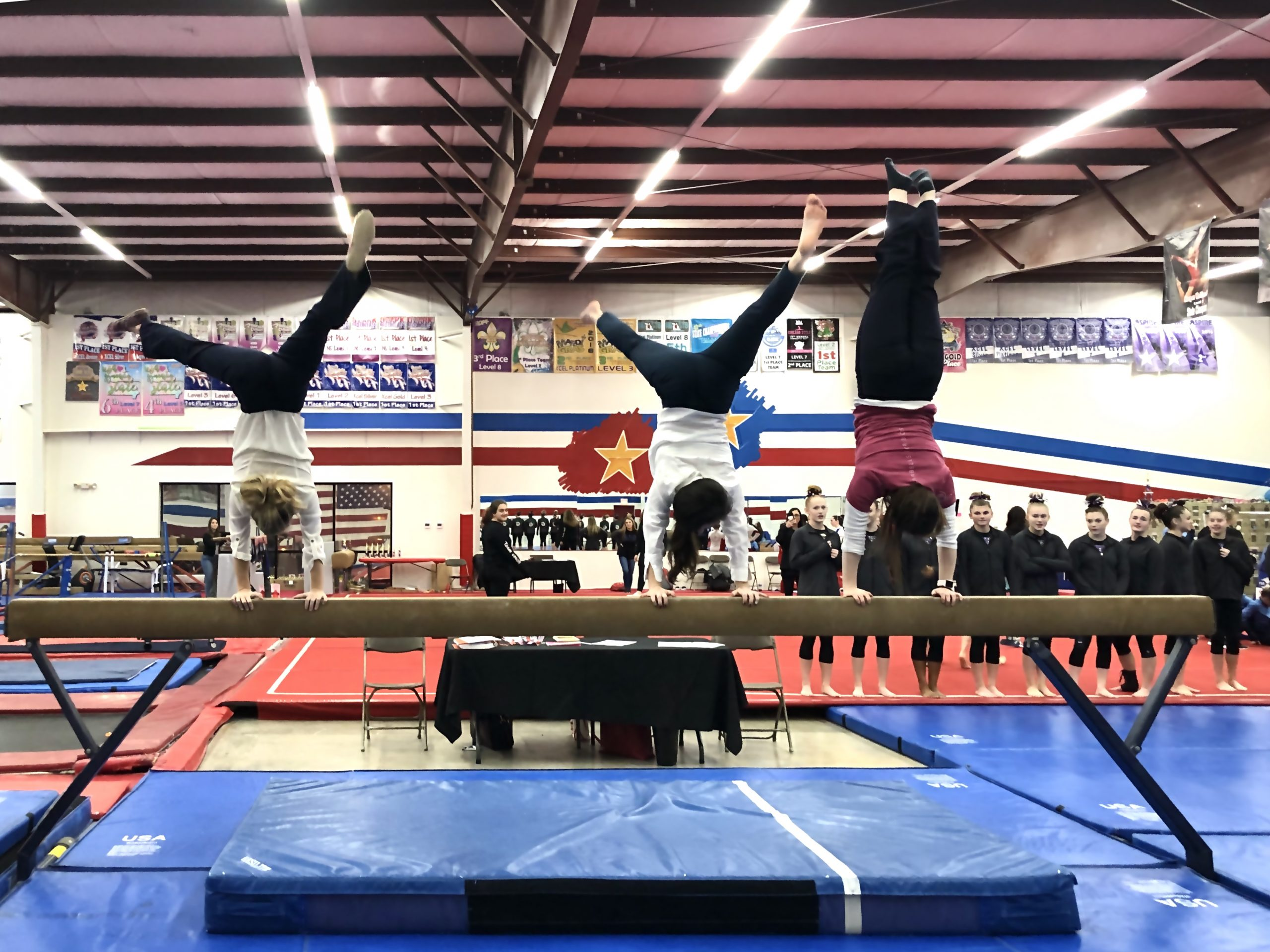 Judges doing handstands on beam