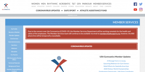 Screenshot of USAG Membership